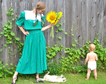 Emerald City in Kansas Dress Vintage 1980s Karin Stevens Tea Length Frock with Beaded Soutache Scalloped Waist Band and Pleated Puff Sleeves