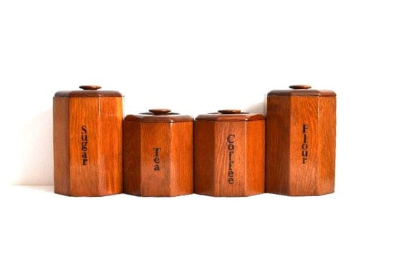 vintage mid century wooden kitchen canisters set of four