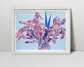 "Original Screen Print Hand Printed Serigraph 28"" Iris bouquet vase s fine art hand pulled made silkscreen printing screenprint painting"