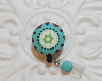 Retractable Badge Holder Id Reel  Fabric Covered Button Turquoise Black Green Maroon