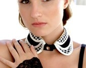 Alanis black  Ivory plaid collar satin and dogtooth check  fabric