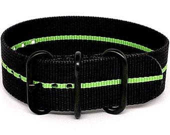 Ballistic Nylon NATO 1 Piece Watch Strap - Black Green Stripe (PVD Buckle)