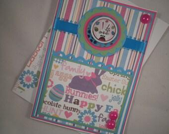 Handmade Easter Card, Bunny Face, Easter Bunny, Easter Card, Kids Easter Card