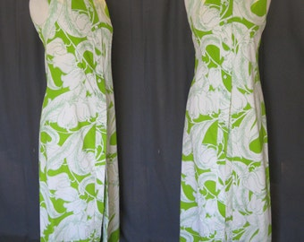 Vintage 1960s Kahala Maxi, 60s Lily of the Valley Abstract Floral Design, Hawaiian Dress, Lime Green, White, Resort, Beach Cover up, Sz Med