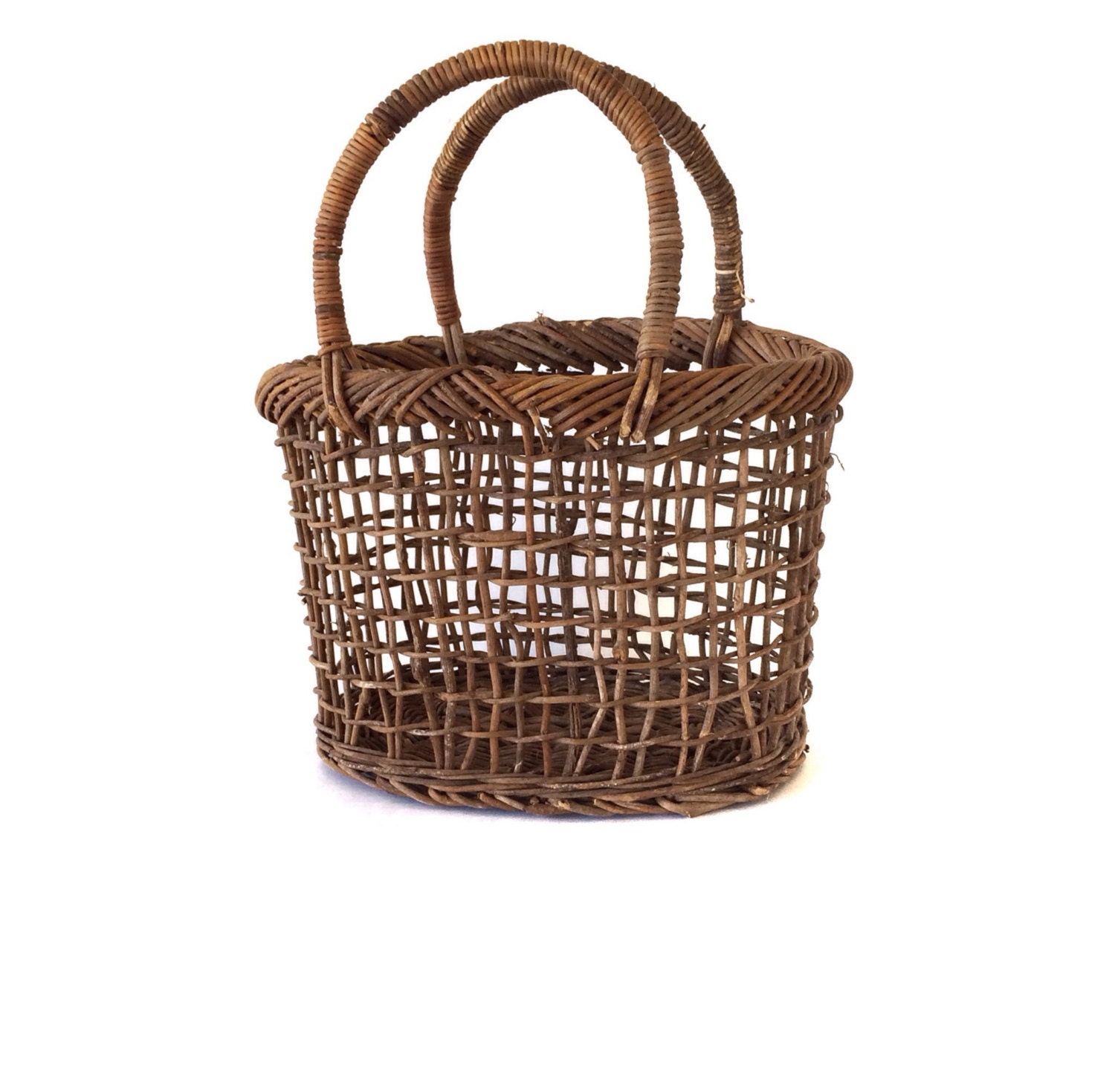 How To Weave A Basket Out Of Twigs : Vintage handmade wicker twig woven basket tote handbag