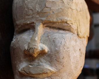 Vintage Expressive Head Sculpture