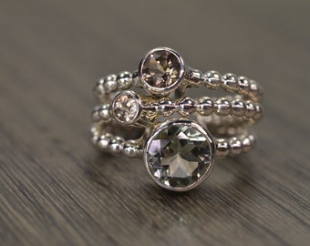 Prasiolite Smoky Quartz Champagne Zircon Stack Rings, silver gold trio stacking stackable jewelry - Carmine Rings
