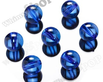 22mm Blue Transparent Gumball Beads, Transparent Acrylic Beads, Chunky Translucent Beads, 22mm Gumball Beads, 3MM Hole