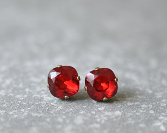 Ruby Red Earrings Swarovski Crystal Bright Red Square Stud Earrings Red Bridesmaid Mashugana