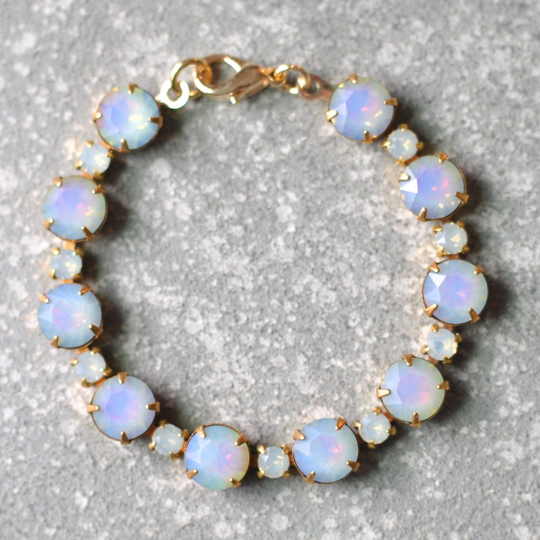 white opal bracelet swarovski vintage rhinestone