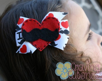 Mustache Love Hair Bow - Meet Miss Snyder