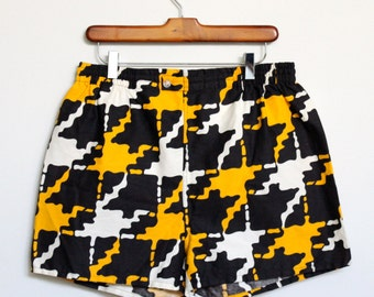 Houndstooth Geometric Color Block Swimming Trunks Mens Medium / Large Vintage Multi Colored Size 30 32 34 36 Waist