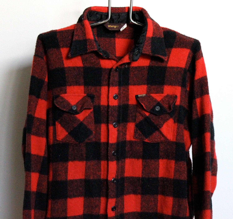 Wrangler buffalo plaid flannel shirt mens extra large xl for Mens xl flannel shirts