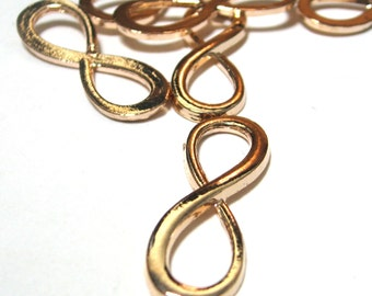 Infinity Link Rose Gold Alloy 30mm for leather bracelets and more 6 pieces