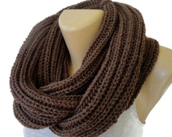 brown Knit Scarf Winter Scarf Women Knit Infinity Scarf Scarves Men Scarf Women Winter Accessories Christmas Gifts Holiday senoaccessory