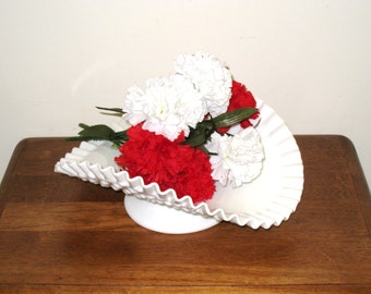 "FENTON Banana Bowl, Milk Glass Hobnail, Low Pedestal, Art Glass Banana Stand With Ruffled Edge / 12"" X 9 5/8"" X 4 1/2"""