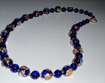 24K Gold and Rich Blue Luna Murano Glass Choker