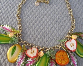 Vibrant Summer Fruit Collar Necklace