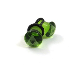 Tri Force Green Glass Single Flare Plugs PAIR - 6g (4mm) 2g (6mm) 0g (8mm) 00g (9mm) (10mm) Triforce Single Flared Glass Ear Gauges