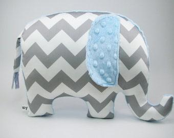Chevron Elephant Pillow toy, organic cotton, modern nursery decor, gray and blue