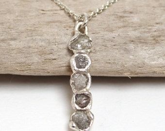 Rough diamond bar pendant necklace, rough diamond necklace, raw diamond necklace, uncut diamond necklace, uncut diamond necklace