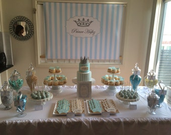 Baby Blue Prince Birthday Party- 5x7 inch signs for dessert table, candy buffet, or to place by the cake - print your own