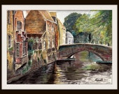 Bruges Reflections - Watercolor Landscape LARGE A4 A3 or A2 Limited Edition Art Print by English Artist Stephen Russell of RussellArt