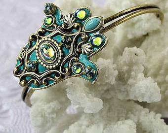 Michal Golan brass Cuff Bracelet withTeal enamel  Hamsa