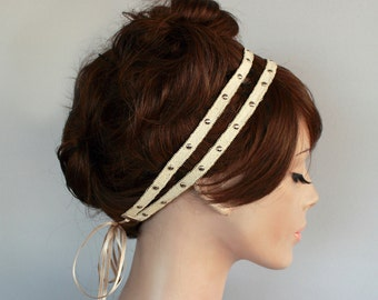 Rustic Bridal Headband, Antique Cotton Ribbon Boho Headband,  Metal Studs, Rocker Weddings Hair Tie, Handmade