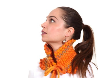 Knitted Scarf, Weaved and Knit Cowl Neckwarmer Orange by Solandia, handknit scarf, orange wool, novelty fall spring knitted fashion