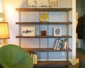 CUSTOM RESERVED for Andrea - reclaimed wood bookshelf - book case, shelving - from reclaimed roughsawn old growth wood and recycled steel