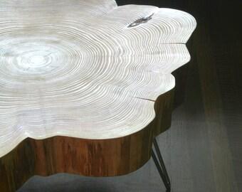 nimbus cloud coffee table - live edge with mid century modern hairpin legs - mod - urban wood salvage