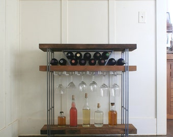 open bar - modern industrial bar from reclaimed wood and steel