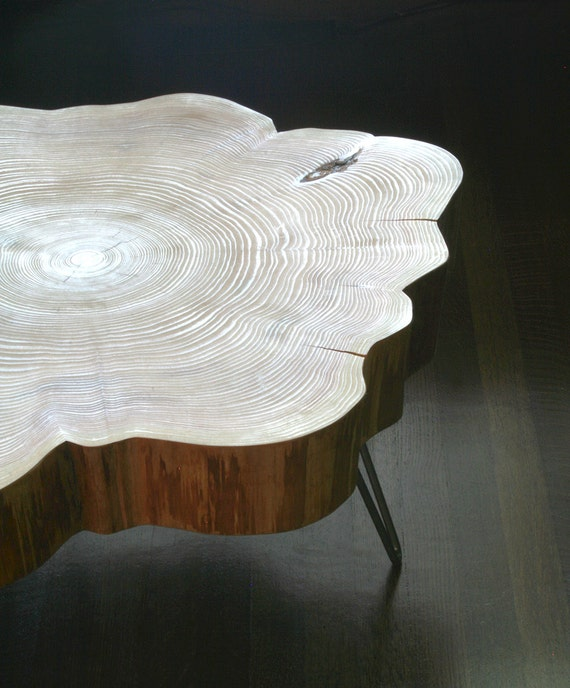 Nimbus cloud coffee table live edge with mid century modern - Customiser table basse ...
