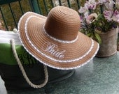 Bridal Shower Gift, Bride Floppy Hat, Rustic Wedding, Bachelorette Party