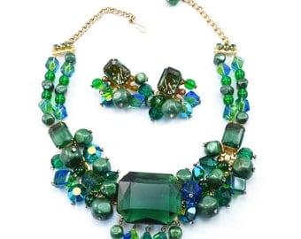 RARE Vintage RIFAS Necklace - Earrings Demi-Parure by DeLizza & Elster - Huge Emerald Glass Stones - Crystal Dangles Rhinestones KILLER Set!