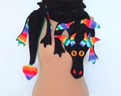 Rainbow Fleece DRAGON scarf