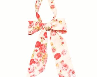 Cream custard pink roses large bow neckerchief
