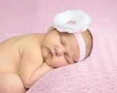 Baby Headband..Infant Headband..Baby Girl Flower Headband..White Flower Pink Headband with Pink rhinestones..Toddler Headband..Pink White