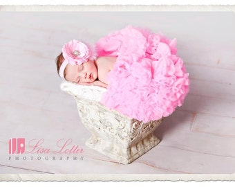 Baby Headband..Baby Girl Headband..Pink Baby Headband..Pink Baby Headband with Feathers..Baby Girl Pink Flower Headband