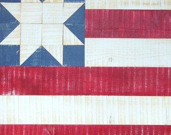 American Flag Distressed Wood Painting