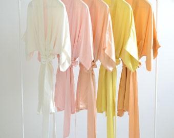 Samantha Silk Kimono Bridal Robe Bridesmaids Robes in Sorbet Colors - ivory, ballet pink, peach, yellow, orange