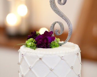 Monogram Diamond Crystal Cake Topper - FREE SHIPPING