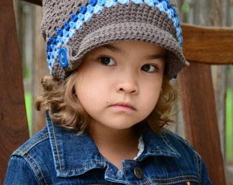 CROCHET PATTERN - Newsboy Slouchy - crochet slouchy hat pattern, crochet hat pattern (Toddler Child Adult sizes) - Instant PDF Download