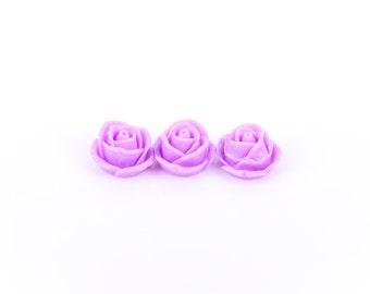10 Rose Flower Cabochons, flatback, LAVENDER PURPLE, 19mm  cab0158