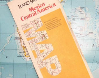 1983 Map of Mexico, Central America - Rand McNally - Tourist Road Map