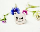 Kawaii Panda ring for women, Ceramic animal ring adjustable, Small panda bear ring, Kawaii jewelry, Ceramic accessories, Etsy jewelry ooak