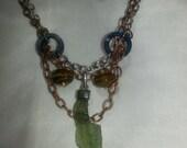 Moldavite and Tiger's Eye Necklace