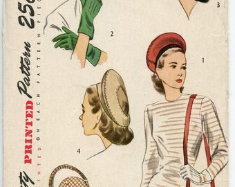 1940s Vintage Sewing Pattern Simplicity 2173 Accessory Pattern Womens Hat Gloves Purse Size 6.5