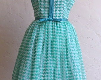 It's My Party-Adorable Vintage Double Layer Houndstooth Check Party Dress